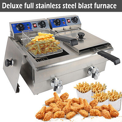20L Commercial Deep Fryer w/ Timer and Drain Fast Food French Frys Electric