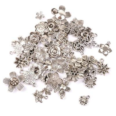 50 Silver Flower Charms Drop Pendant Beads Necklace Jewelry Making Findings DIY
