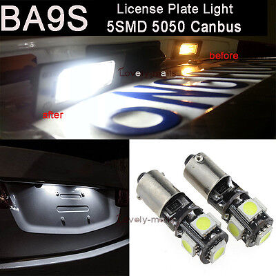 10x White Ba9s 57 53 Miniature Bayonet Canbus 5050 SMD LED License Plate Lights