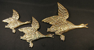 C1950's Set 3 English Brass Wall Hanging Mallard Ducks In Style Of Beswick Ducks