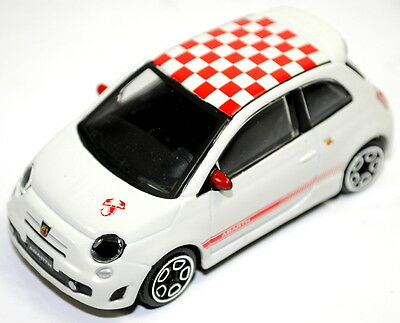 Fiat 500 Abarth Model Car 1/43 Diecast Metal Burago WHITE New Genuine 59230950