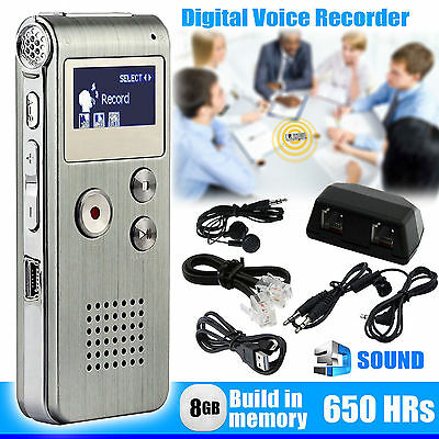 8GB Digital Voice Recorder 650hrs Rechargeable Steel Dictaphone MP3 Player Sound