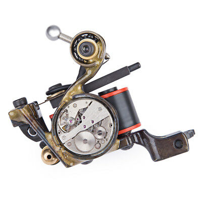 Pro Steampunk Liner Tattoo Machine Gun 10 Wraps Coils Steel Supply