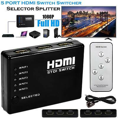 5 Port HDMI Switcher Switch Box 1080p Selector+Remote For HDTV DVD PS4 XBOX LCD