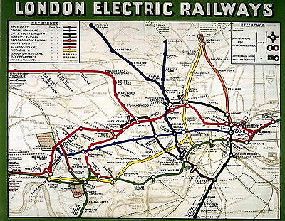 Vintage London Underground Electric Railway Travel Map Print Poster A3, A4