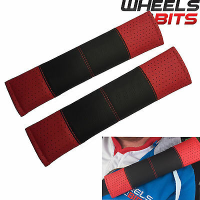 Black & Red Stitch Seat Belt Harness Pads Should Straps PVC Leather for Volvo