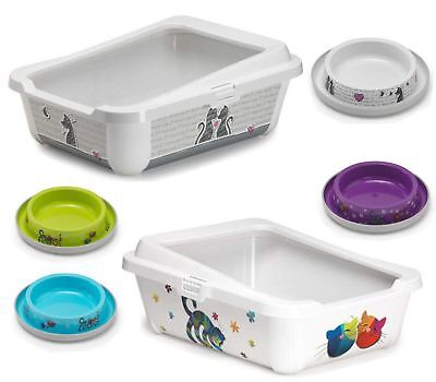 Cat Large Litter Tray With Rim 51x39x19cm + 2 Bowls 0.2L + Scoop Box Bowl