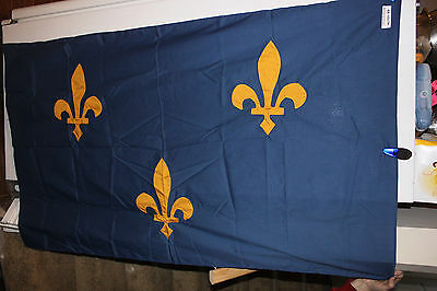 "(AA-10179) Vintage FRANCE ? or LOUISIANA ? Flag, 60"" x 36"", Used,  , ESTATE FIND"