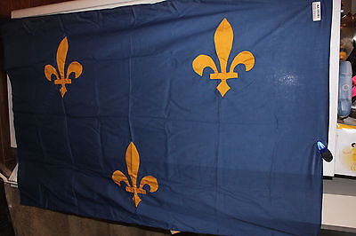 "(AA-10183) Vintage FRANCE or LOUISIANA ? FLAG, 62"" x 42"", Used, ESTATE FIND"