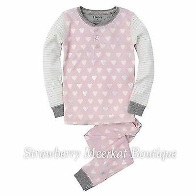 New Girls Hatley Pink Metallic Hearts Henley Pyjama Pajamas PJs 5 6