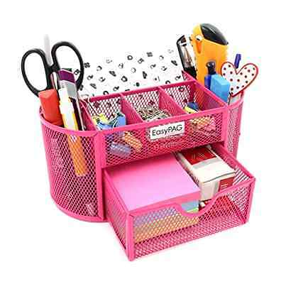 EasyPag 9 Compartments Mesh Desk Organizer Drawer Pink Office Tool Storage New