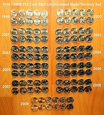 1999 - 2009 Complete 112 State & Territory Quarter P & D Uncirculated Set