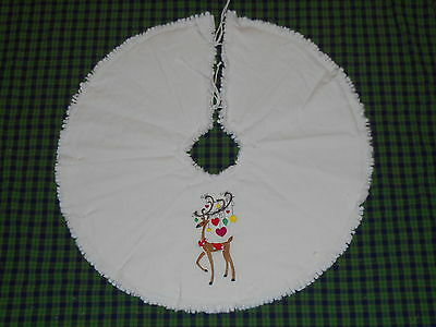 """REINDEER & ORNAMENTS Embroidered Tree Skirt,24"""",Christmas,Country, Prim, Winter"""