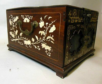 Antique Asian Chinese Asian Vanity Jewelry Box Chest Bone Inlay Mirror 2 Drawers