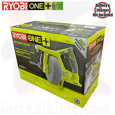 Ryobi P4001 18V 18-Volt ONE+ Drain Auger Pipe Snake Sewer Cleaner Bare Tool Only