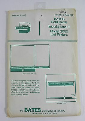 Bates Refill Cards Imperial Mark I Model 2000 List Finders A To Z  # 2 Way-Rfs