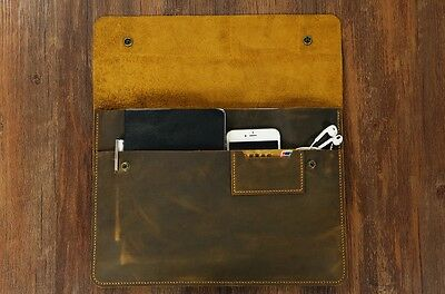 Distressed Leather Laptop case sleeve portfolio for Dell XPS 13 15 Handmade