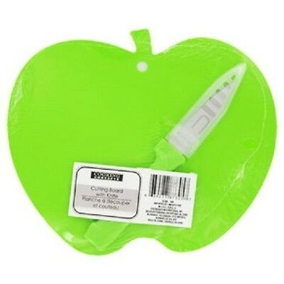 """Green Apple Shaped CUTTING BOARD WITH KNIFE  9"""" X 7""""~ New"""