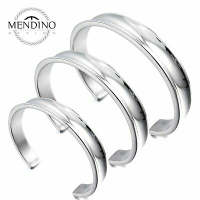 MENDINO Men's 316L Stainless Steel Bracelet Classic Cuff Polished Bangle Silver