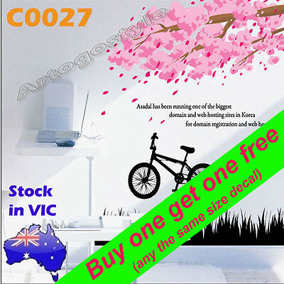 Wall Decal Sticker poster home nursery bed room decor cherry blossom bike C0027