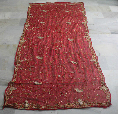 Antique Saree Vintage Hand Beaded Zardozi Bullion Embroidery Red Color Zs102
