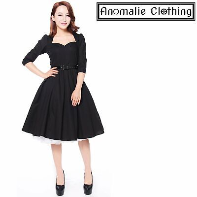 Chic Star Black Bow Back Swing Dress 1950s Retro Rockabilly Pinup Corporate Goth
