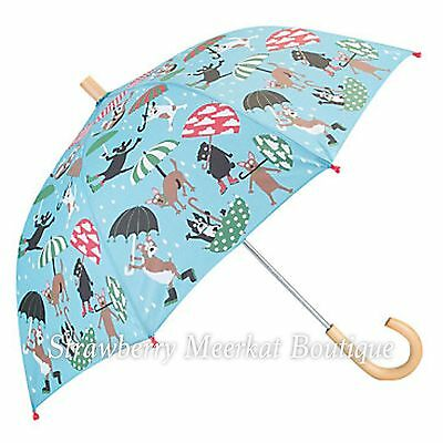 New Boys Hatley Blue Raining Dogs Umbrella with Wooden Handle