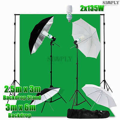 Photography Studio Umbrella Lighting Light Stand Video Green Muslin Backdrop Kit