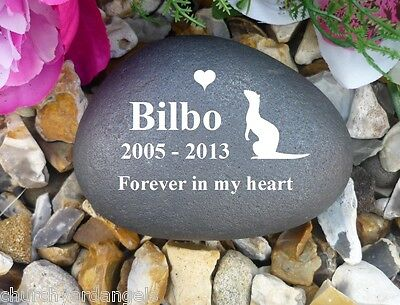 Pet Memorial Pebble (Stone Effect) - Personalised - Weatherproof - Ferret