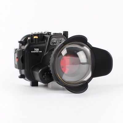 Canon 70D 18-135mm 40M Underwater camera Housing Case +Wide Angle Dome Port lens