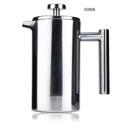 350ML Stainless Steel Double Wall Cafetiere Filter Coffee Maker Plunger For Home