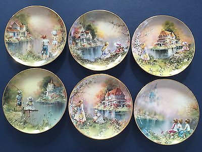 FRANKLIN MINT cmplete SET OF 6 COLLECTOR PLATES * Reel Pals by Andres Orpinas