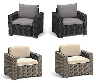 Garden Patio Armchair Rattan Outdoor Modern Furniture Set Of 2 Chairs w Cushions
