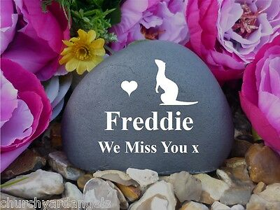 Pet Memorial Pebble (Stone effect) - Personalised - Weatherproof - Ferret - FS2