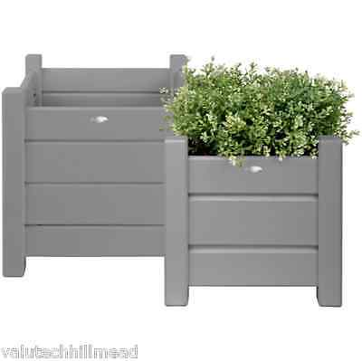 Fallen Fruits 2 Piece Square Planter Set in Grey