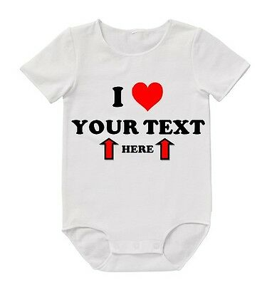 BABY Romper I Love YOUR TEXT Custom Bodysuit Cute Funny Gift Mum Dad Aunty Uncle