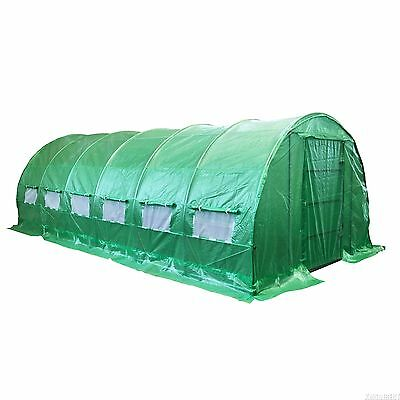 6MX3M Polytunnel Galvanised Frame Greenhouse Pollytunnel Poly Tunnel Metal Door