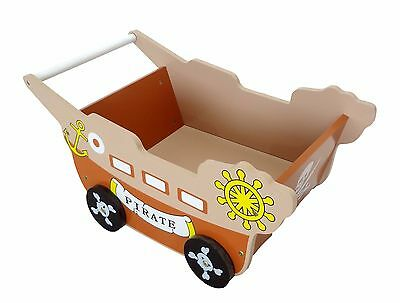 Bebe Style Pirate Wooden Childrens/Kid Walker-Trolley-Toy Box Storage Push Along