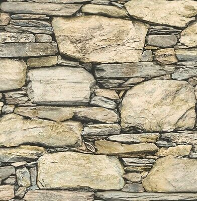 Bold 3D Realistic Stone Wall Effect Wallpaper Natural Mix FD40942 Free Delivery
