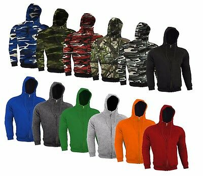 Armoured Hoodie Motorcycle Motorbike Hoody Jacket Zip Up Removable CE Armor