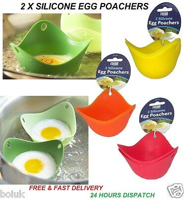 Set Of 2 Silicone Round Egg Poachers Fried Poached Eggs Cooking Mould Fry Cook