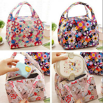 Floral Insulated Thermal Pouch Storage Lunch Box Bag Picnic Cooler Tote Outdoor
