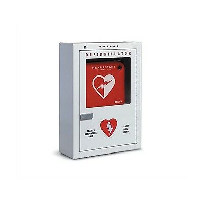 Philips AED Defibrillator Cabinet w/ Battery Powered Alarm System Surface Mount