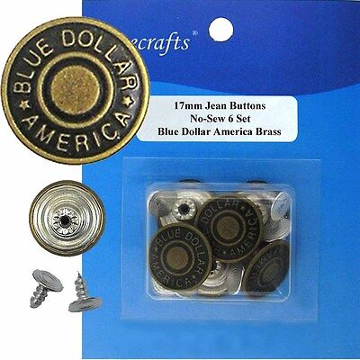 8 CT. 17 mm No-Sew Replacement Jean Tack Buttons w//Tool BCN1T8