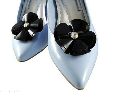 Bridal Wedding Prom Black Rose Leather Shoe Clip Dress Formal Wear Accessory