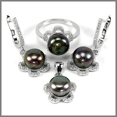 Natural Black Peacock Pearl 9 Mm. Round & Cz Sterling 925 Silver Set Size 8