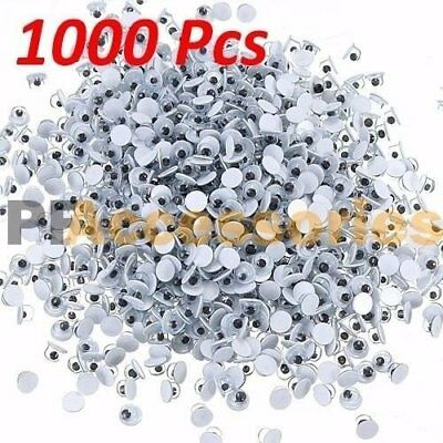 1000 Pcs Assorted Size Wiggly Googly Eyes 7 Sizes for DIY Scrapbooking Craft Art