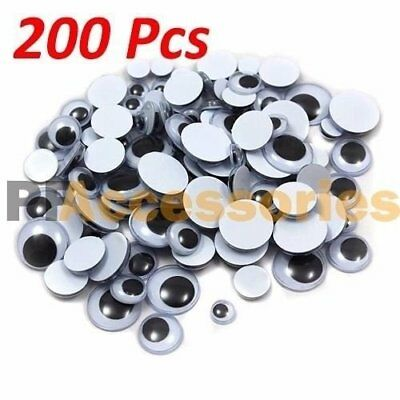 200 Pcs Assorted Sizes Wiggly Googly Eyes 7 Sizes for DIY Scrapbooking Craft Art