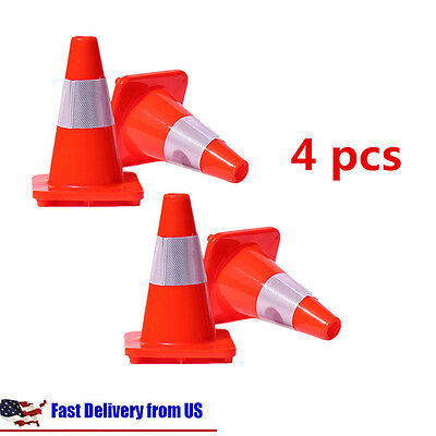 "4X Traffic Cone 12"" Slim Fluorescent Red Reflective Road Safety Parking Cones BP"