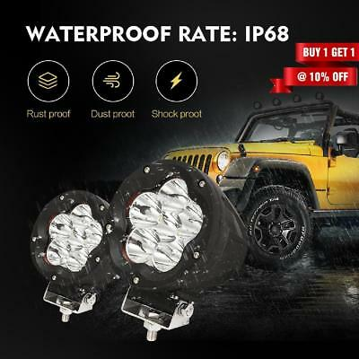 """2x5""""Inch 1200W CREE LED Driving Lights Spot Flood Beam Round Black 7"""" Offroad"""